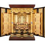 御堂造り内寸三尺六寸三方開き、真宗大谷派のお仏壇。第24回全国仏壇仏具展にて、伝統的工芸品産業振興協会賞を受賞しました。