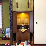 落ち着いた色合いの家具調仏壇をご納品。滋賀県豊郷町のお客様、浄土真宗本願寺派(お西)のお仏壇